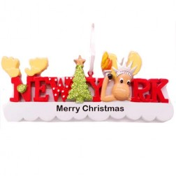 New York Words Reindeer Ornament
