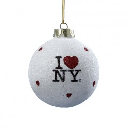 """I Love NY"" Glitter White Christmas Ball Ornament"