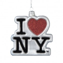 """I Love NY"" Glass Ornament"