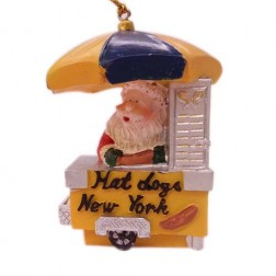 Hot Dog Santa Ornament