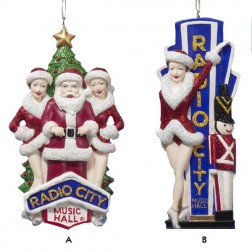 Rockettes Lady with Soldier and Santa with Showgirls Ornament