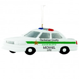 Sheriff Car Personalized Christmas Ornament