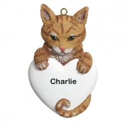 Tabby Orange Cat Personalized Christmas Ornament