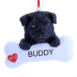 Black Pug Dog Christmas Ornament