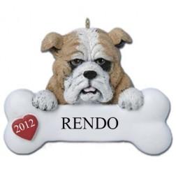 Bulldog Personalize Christmas Ornament