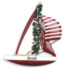 Sailboat Personalized Christmas Ornament