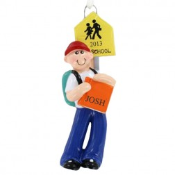 School Boy Backpack And Books Personalized Christmas Ornament