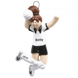 Volley Ball Girl Brown Personalized Christmas Tree Ornament