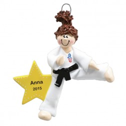 Karate Girl Personalized Christmas Ornament