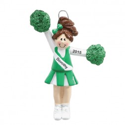 Pom Pom Green Personalized Christmas Ornament