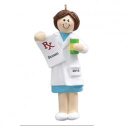 Pharmacist Girl Personalized Christmas Ornament