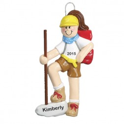 Hiker Personalized Christmas Ornament (Female)