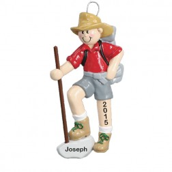 Hiker Personalized Christmas Ornament (Male)