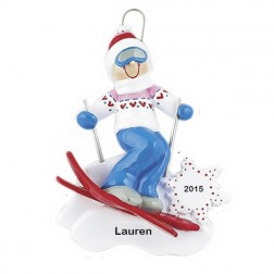 Ski Action Girl  Personalized Christmas Ornament