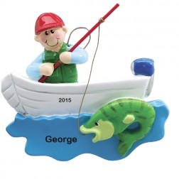 Fisherman Boat  Personalized Christmas Ornament