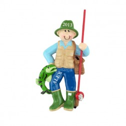 Fisherman Personalized Christmas Ornament