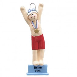 Swimmer Platform Boy  Personalized Christmas Ornament