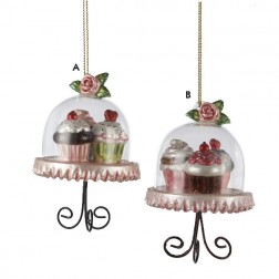 Cupcake Heaven Domed Platters with Cupcakes Christmas Ornament