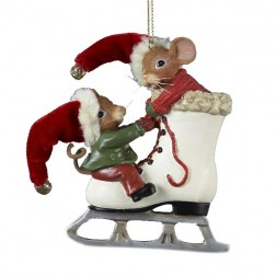 Mouseville Mice on Ice Skate Christmas Ornament