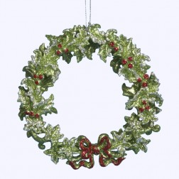 Acrylic Green Holly Wreath Ornament