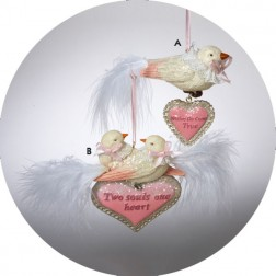"Love Bird ""Wishes Do Come True"" & ""Two Souls One Heart"" Christmas Ornament"