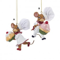 Chef Mouse Baking Holding Cupcake Ornament