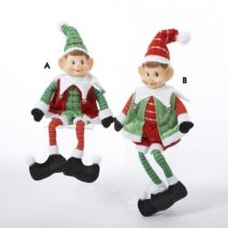 Plush Sitting Elves Christmas Ornament