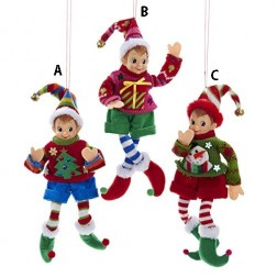 Blue, Red or Green Elf in Sweater Ornament