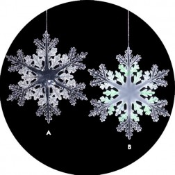 Icy Crystal Iridescent Clear & Frosted Snowflake Christmas Ornament
