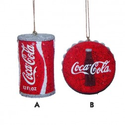 Coca-Cola Beaded Can and Bottle Cap Ornament