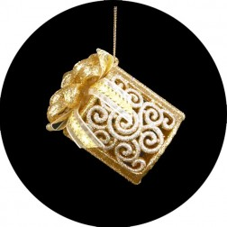 Gold & Silver Gift Box Christmas Ornament