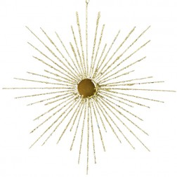 Gold Glittered Wire Snowflake Christmas Ornament