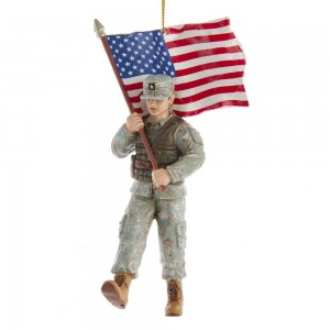 "5.75""Army Soldier W/American Flag"