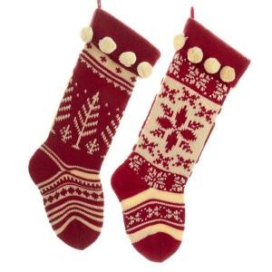 Red/White Knit Stocking 2/Asstd