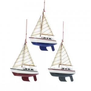 Wooden Yacht W/Sails Orn 3/Asstd