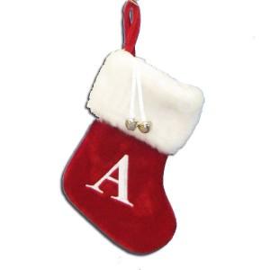 "7""Red/Wht Monogram ""A"" Mini Stockng"