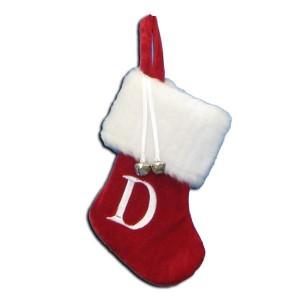 "7""Red/Wht Monogram ""D"" Mini Stockng"