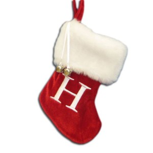 "7""Red/Wht Monogram ""H"" Mini Stockng"