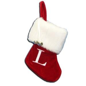 "7""Red/Wht Monogram ""L"" Mini Stockng"