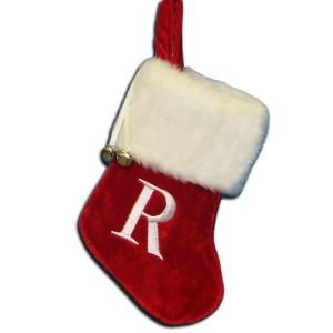 "7""Red/Wht Monogram ""R"" Mini Stockng"