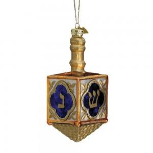 """4"""" Jewish Dreidel Glass Ornament"""