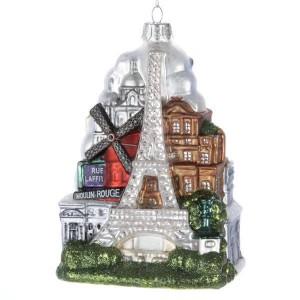 """5""""Glass """"Paris City"""" Orn"""