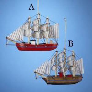 """5.5"""" Wooden Schooner Boat Ornament"""