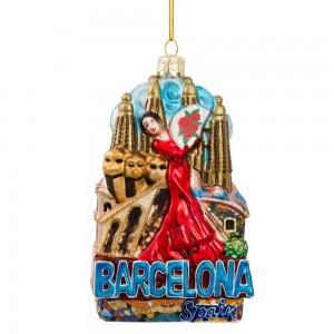 "5""Barcelona Glass Orn"