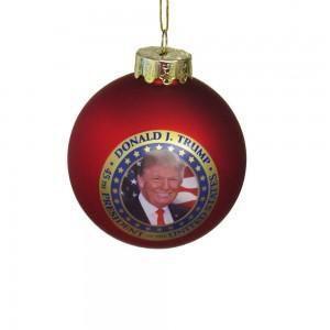 80mm Glass President Trump Ball Ornament