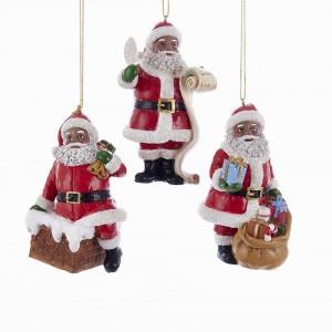 """4.5""""Resin Black Santa Orn 3/Asstd"""