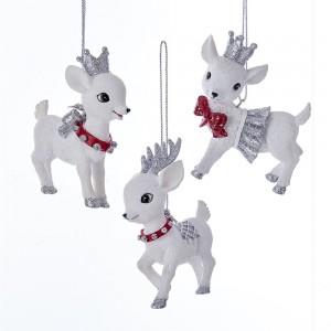 """3""""Red/Silv Baby Deer Orn 3/Asstd"""