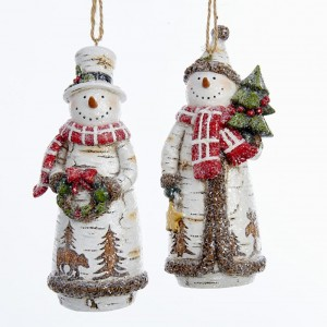 "5""Birch Snowman Holding Tree/Wreath"