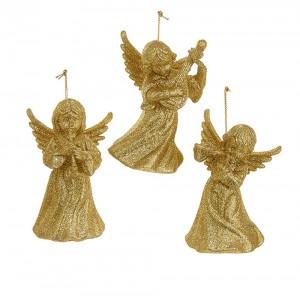 """3.75""""Acrylc Gold Glttr Angel Orn 3A"""