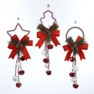 """14"""" Red and White Christmas Bell Door Hanging Ornament"""